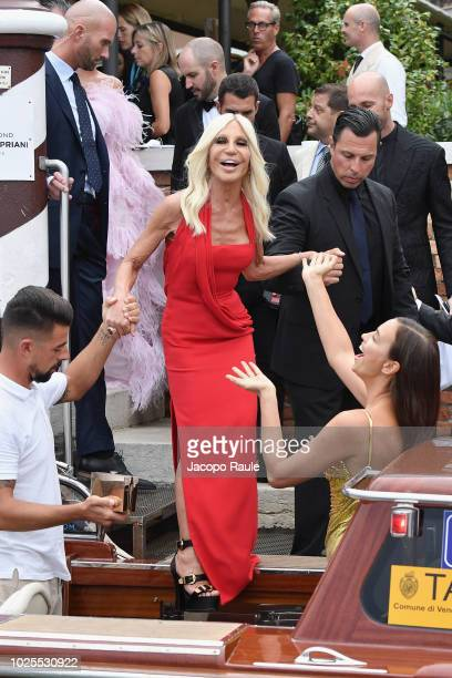 Donatella Versace is seen during the 75th Venice Film Festival on August 31 2018 in Venice Italy