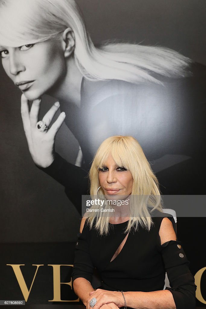 Donatella Versace Book Signing And PA At Harrods