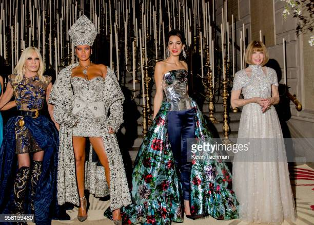 Donatella Versace Rihanna Amal Clooney and Anna Wintour attend the Heavenly Bodies Fashion The Catholic Imagination Costume Institute Gala at The...