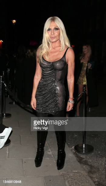 Donatella Versace seen attending Versace & Frieze event / party at Toklas Restaurant on October 15, 2021 in London, England.
