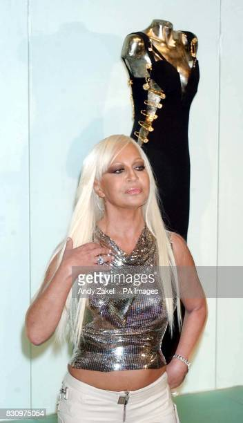 Donatella Versace talks to the media during a photocall at the Victoria and Albert Museum in London, where she opened a retrospective collection of...