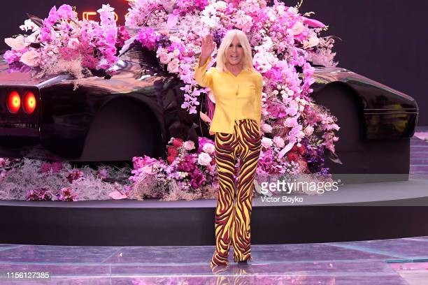 Donatella Versace walks the runway at the end of the Versace fashion show during the Milan Men's Fashion Week Spring/Summer 2020 on June 15, 2019 in...