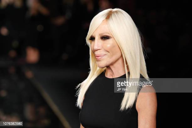 Donatella Versace walks the runway at the Versace Pre-Fall 2019 Collection at The American Stock Exchange on December 02, 2018 in New York City.