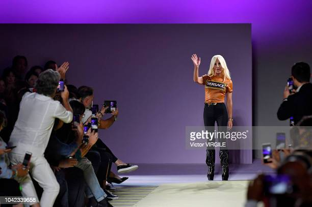 Donatella Versace walks the runway at the Versace Ready to Wear fashion show during Milan Fashion Week Spring/Summer 2019 on September 21 2018 in...