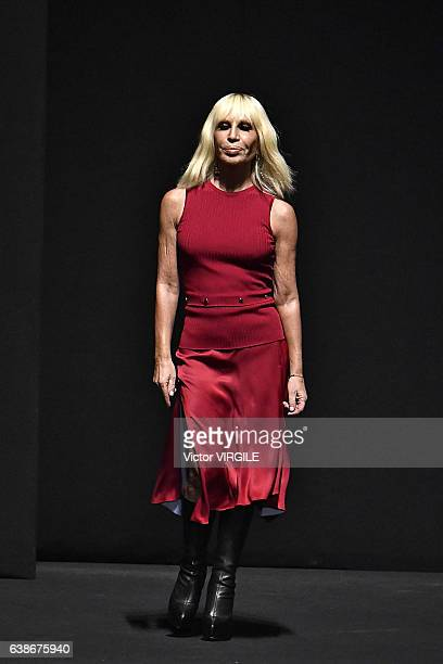 Donatella Versace walks the runway at the Versace show during Milan Men's Fashion Week Fall/Winter 2017/18 on January 14 2017 in Milan Italy