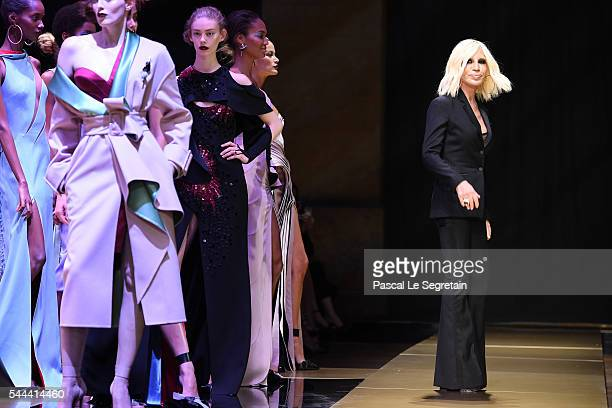 Donatella Versace walks the runway during the Atelier Versace Haute Couture Fall/Winter 2016-2017 show as part of Paris Fashion Week on July 3, 2016...