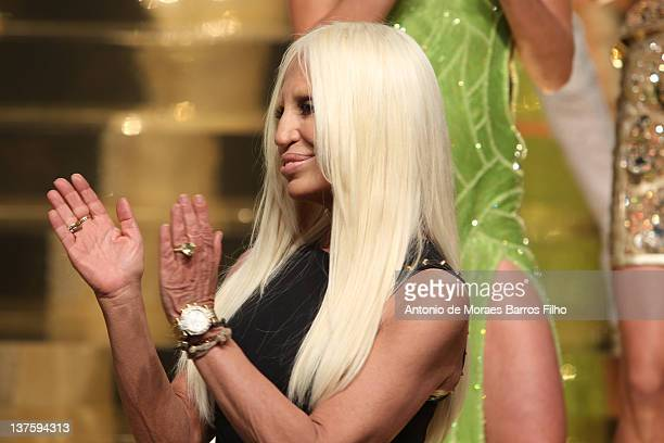Donatella Versace walks the runway during the Versace Haute Couture Spring/Summer 2012 Presentation as part of Paris Fashion Week on January 23, 2012...
