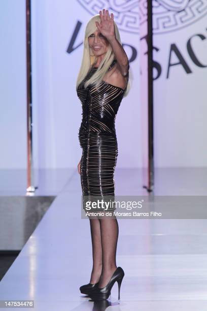 Donatella Versace walks the runway during the Versace Haute-Couture Show as part of Paris Fashion Week Fall / Winter 2012/13 on July 1, 2012 in...