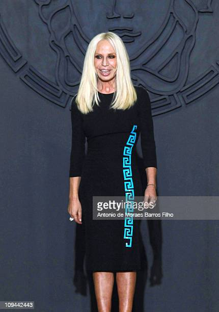 Donatella Versace walks the runway during the Versace show as part of Milan Fashion Week Womenswear Autumn/Winter 2011 on February 25, 2011 in Milan,...