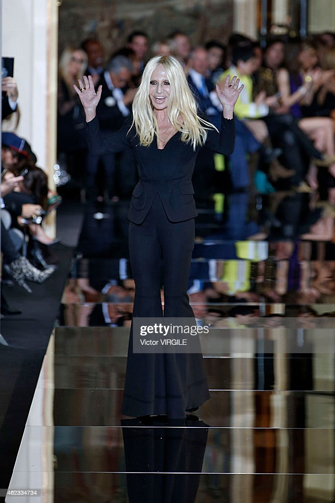 Donatella Versace walks the runway during the Versace show as part of Paris Fashion Week Haute Couture Spring/Summer 2015 on January 25, 2015 in Paris, France.