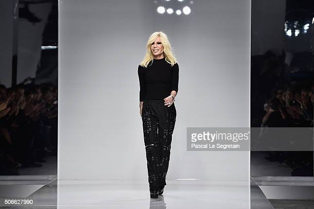 Donatella Versace walks the runway during the Versace Spring Summer 2016 show as part of Paris Fashion Week on January 24 2016 in Paris France