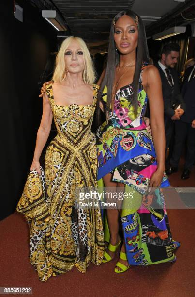 Donatella Versace winner of the Fashion Icon award and Naomi Campbell pose backstage at The Fashion Awards 2017 in partnership with Swarovski at...
