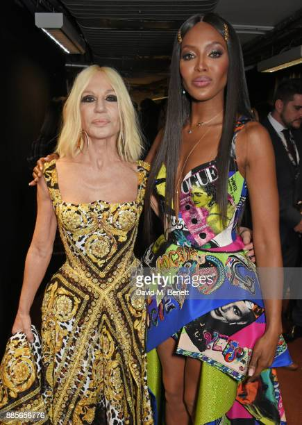Donatella Versace winner of the Fashion Icon award and Naomi Campbell pose backstage at The Fashion Awards 2017 in partnership with Swarovski at...
