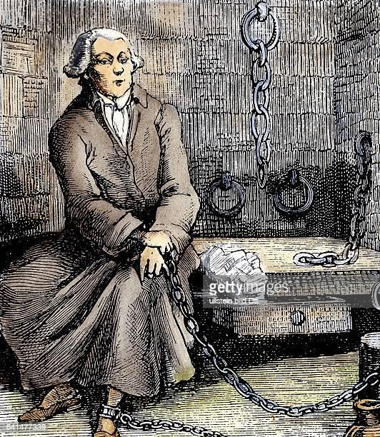 Donatien Alphonse Francois Marquis de Sade *0206174002121814Schriftsteller Frankreich im Gefängnis an Ketten undatiert