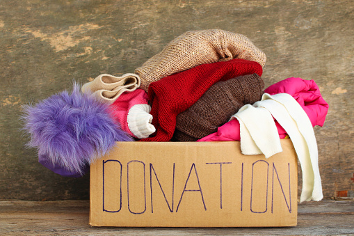 Donation box with clothes. 856564654