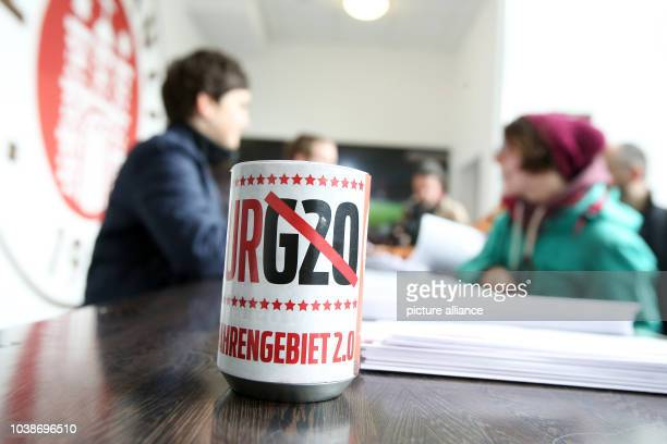 A donation box with crossedout lettering that reads 'G20' seen at the G20 campaign conference at Millerntorstadion stadium inhamburgGermany 08...