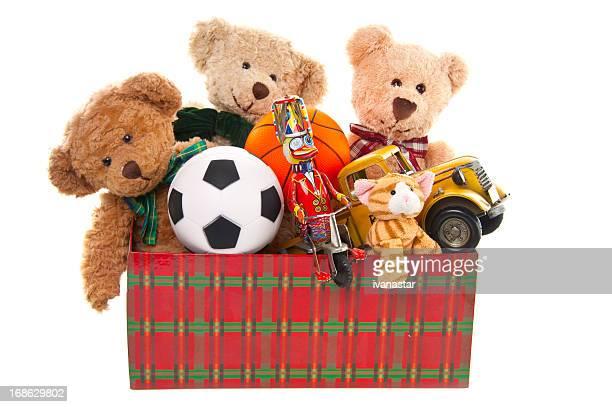 Caixa de Doação com Urso de Pelúcia, bolas e de brinquedos