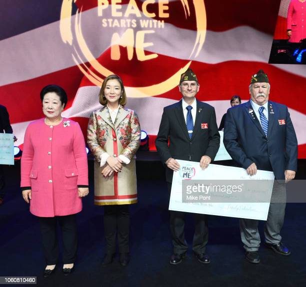 A donation to Veterans of Foreign Wars is presented during Peace Starts With Me concert at Nassau Coliseum on November 12 2018 in Uniondale New York