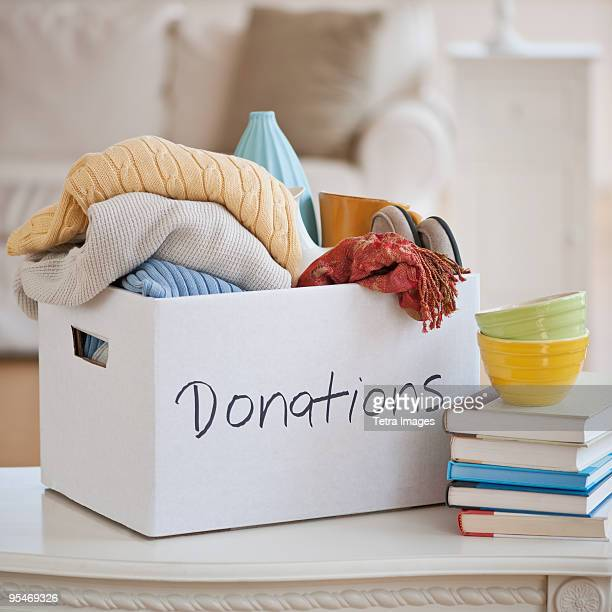 donations box - charitable donation stock pictures, royalty-free photos & images