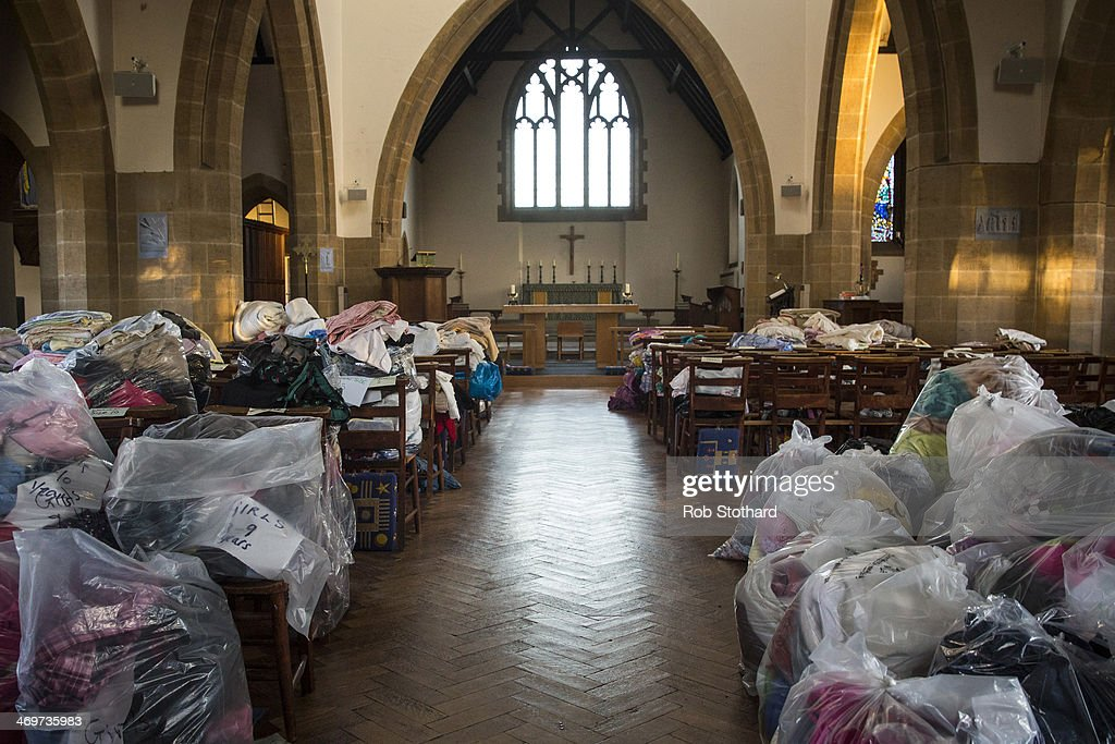 Donations of clothing, bedding and towels in St Paul's Church on February 16 2014 in Staines, England. Housing near the river Thames has suffered a week of flooding after the river burst it's banks on February 10, 2014.