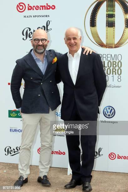 Donato Carrisi and Toni Servillo attend Globi D'Oro awards ceremony at the Academie de France Villa Medici on June 13 2018 in Rome Italy