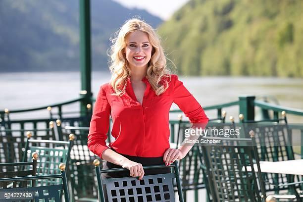 Donau Testimonial Silvia Schneider during the 'Genuss am Fluss' cooking event at Hotel 'Donauschlinge Schloegen' on April 25 2016 in Schloegen near...