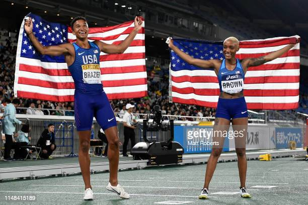 Donavan Brazier and Ce'Aira Brown of USA celebrate after the Mixed 2x2x400m Relay Final on day one of the IAAF World Relays at Nissan Stadium on May...