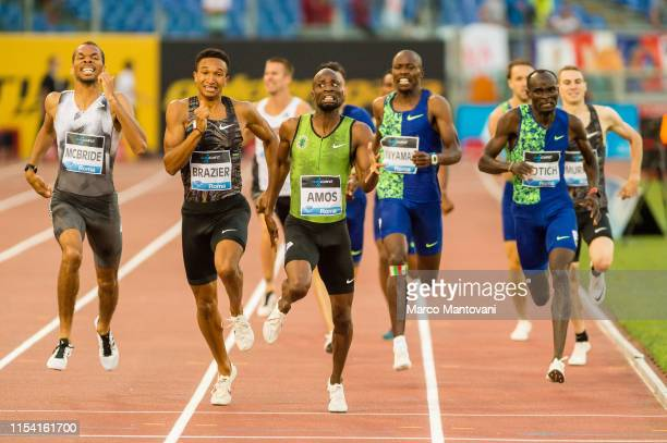 Donavan Brazier and Nijel Amos are neck and neck while crossing the finishing line in men's 800m during the IAAF Diamond League: Golden Gala Pietro...