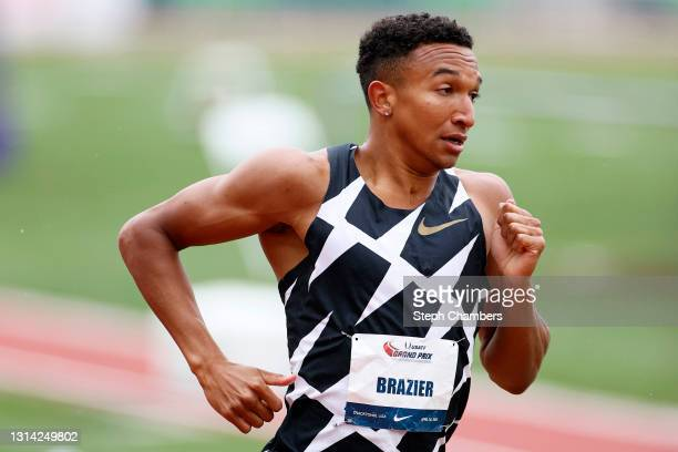 Donavan Brazier competes in the 1500 meter final during the USATF Grand Prix at Hayward Field on April 24, 2021 in Eugene, Oregon.