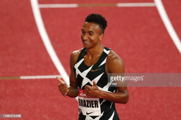 Donavan Brazier of the United States celebrates victory in the Men's 800 metres during the Herculis EBS Monaco 2020 Diamond League meeting at Stade...