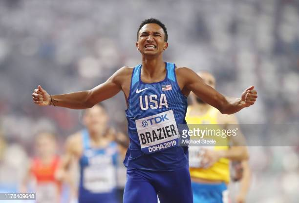 Donavan Brazier of the United States celebrates winning gold as he crosses the finish line in the Men's 800 Metres final during day five of 17th IAAF...