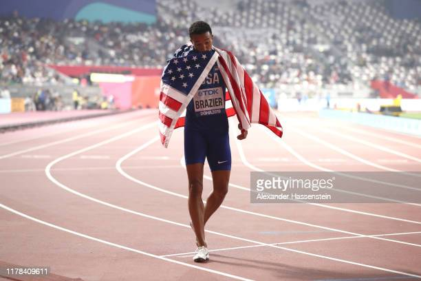 Donavan Brazier of the United States celebrates winning gold in the Men's 800 Metres final during day five of 17th IAAF World Athletics Championships...