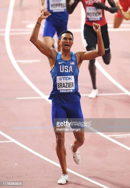 Donavan Brazier of the United States celebrates winning the Men's 800 Metres final during day five of 17th IAAF World Athletics Championships Doha...