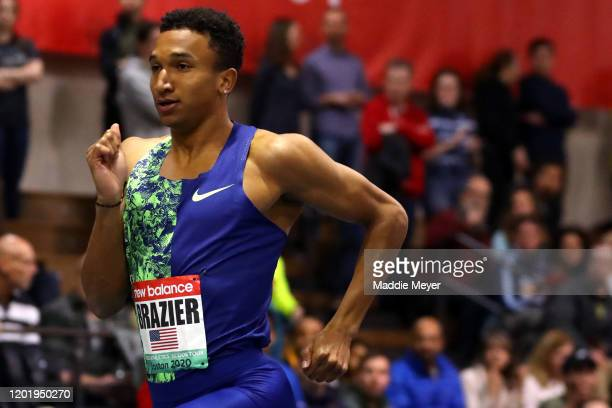 Donavan Brazier of the United States competes in the Men's 600m during the New Balance Indoor Grand Prix at Reggie Lewis Center on January 25, 2020...