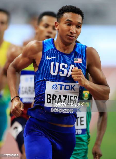 Donavan Brazier of the United States competes in the Men's 800 metres heats during day two of 17th IAAF World Athletics Championships Doha 2019 at...
