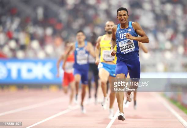 Donavan Brazier of the United States competes in the Men's 800 Metres final during day five of 17th IAAF World Athletics Championships Doha 2019 at...