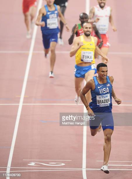 Donavan Brazier of the United States crosses the finish line to win gold in the Men's 800 Metres final during day five of 17th IAAF World Athletics...
