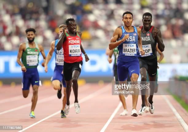 Donavan Brazier of the United States, Emmanuel Kipkurui Korir of Kenya and Marco Arop of Canada compete in the Men's 800 Metres heats during day...