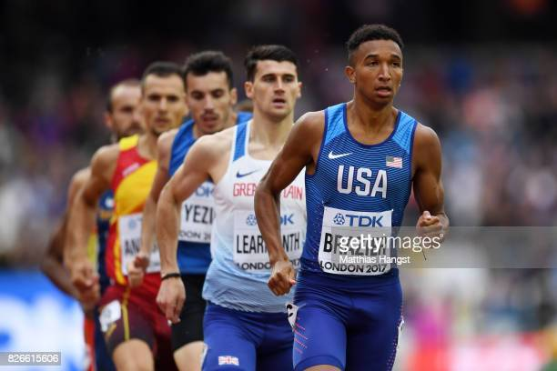 Donavan Brazier of the United States leads the mens 800m heats during day two of the 16th IAAF World Athletics Championships London 2017 at The...