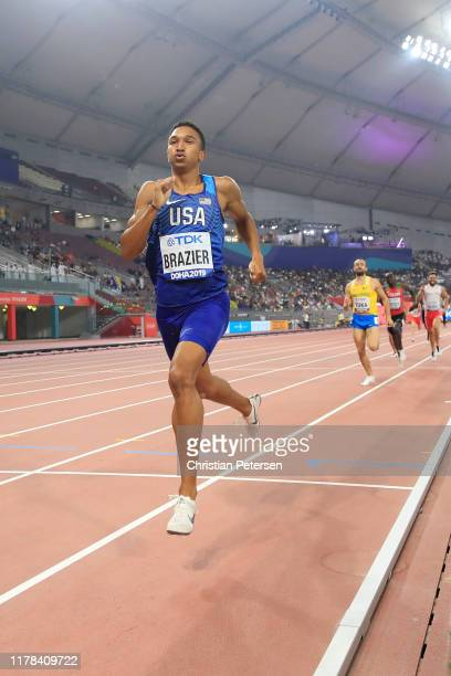 Donavan Brazier of the United States races to the finish line to win gold in the Men's 800 Metres final during day five of 17th IAAF World Athletics...