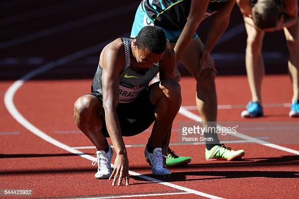 Donavan Brazier reacts in the first round of the Men's 800 Meter during the 2016 US Olympic Track Field Team Trials at Hayward Field on July 1 2016...