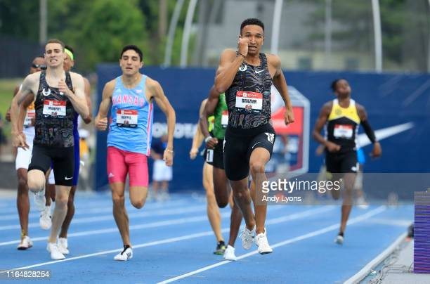 Donavan Brazier runs to victory in the 800 meter final during the 2019 USATF Outdoor Championships at Drake Stadium on July 28, 2019 in Des Moines,...