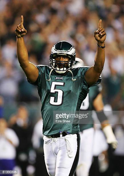 Donavan McNabb of the Philadelphia Eagles celebrates after he threw a touchdown pass to L.J. Smith to give the Eagles the lead 6-3 over the Minnesota...