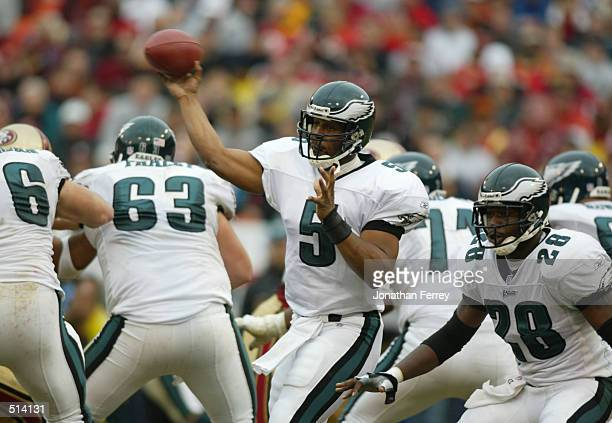Donavan McNabb of the Philidelphia Eagles throws the ball during the Philadelphia Eagles v San Francisco 49ers game at 3Com Park in San Francisco...