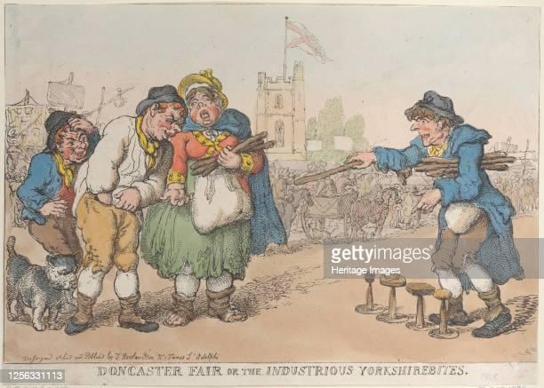 Doncaster Fair or the Industrious Yorkshirebites, 1808-18?. Artist Thomas Rowlandson.