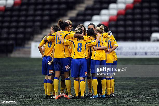 Doncaster Rovers Belles team huddle before the FA WSL Continental Cup match between Liverpool Ladies and Doncaster Rovers Belles at Select Security...