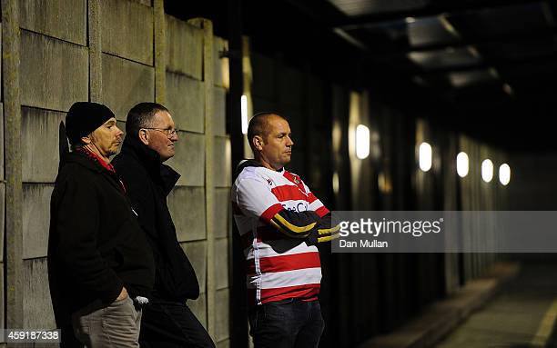 Doncaster Rovers fans look on ahead of the FA Cup First Round match between WestonSuperMare and Doncaster Rovers on November 18 2014 in...
