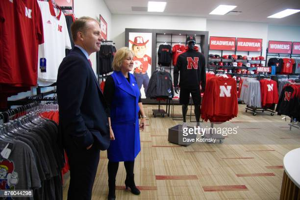 Donde Plowman Executive Vice Chancellor at UNL gives Brian Vaske CEO of ITI Data a tour of the University of NebraskaLincoln campus during the 2017...