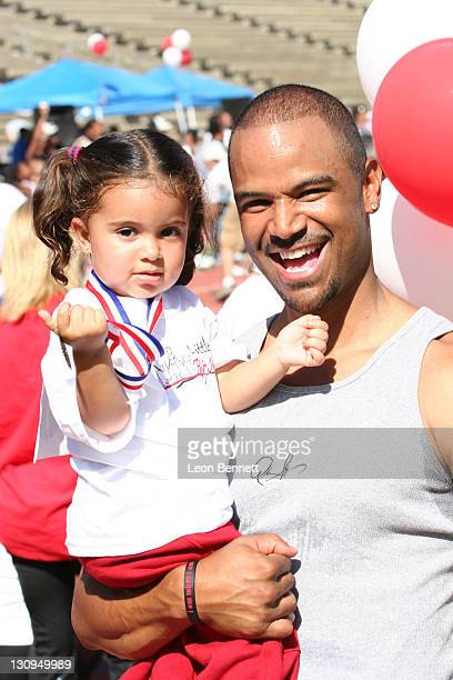 Dondre Whitfield and daughter during BDADS Presents 3rd Annual 'Little Legs With Big Hearts' A Fun Run For Kids To Benefit Children Afflicted With...