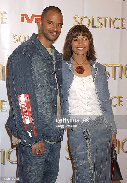Dondre Whitfield and wife Salli Richardson during Safilo USA Hosts CelebrityStudded Spring 2003 Designer Sunglass Fashion Show Extravaganza and...